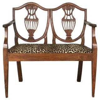 18th C. Italian Neoclassical Walnut Canape Bench For Sale