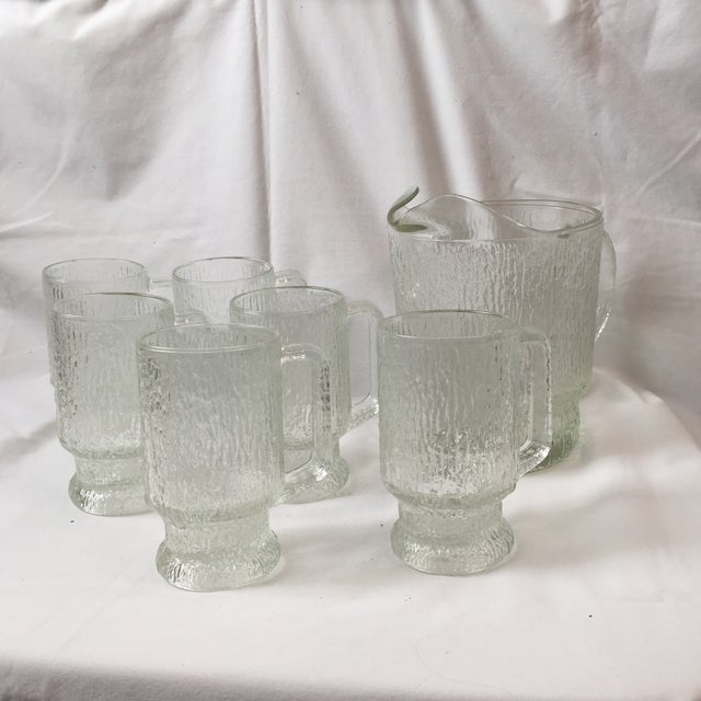 Beautiful vintage Indiana glass tree bark textured glass! These are in perfect condition and come as a set of 6 glass mugs...