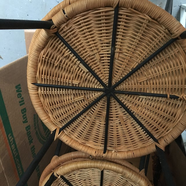1960s 1960s Vintage Danny Ho Fong Iron and Wicker Bar Stools - Set of 6 For Sale - Image 5 of 11
