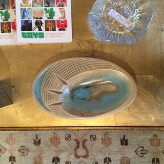 Retro Turquoise and Cream Oval Ashtray Preview