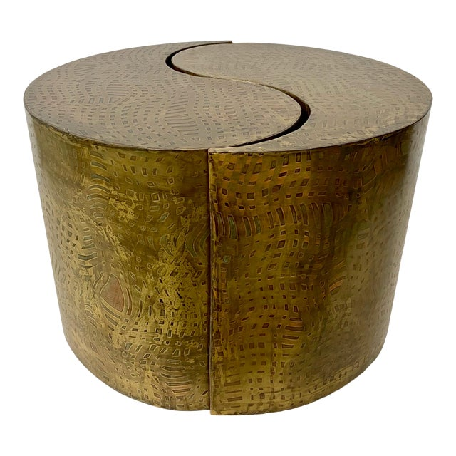 """Pair of Pilino Parker Etched Bronze """"Yin Yang"""" Nesting Side Tables C.1988 For Sale"""