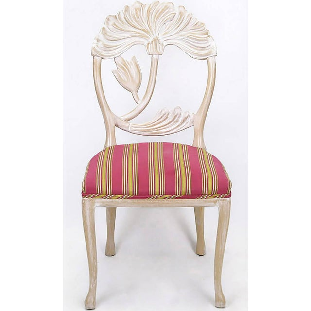 Four Lime Wash Floral Carved Dining Chairs In the Manner Of Phyllis Morris - Image 3 of 9