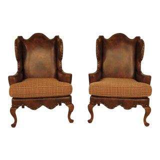 Antique Century Upholstered Leather Wingback Chairs- a Pair For Sale