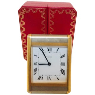 Cartier Tank Desk Clock Two-Tone Gold and Steel For Sale