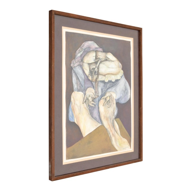 1970s Vintage Fernando Luis Dominguez Abstract Figural Painting For Sale