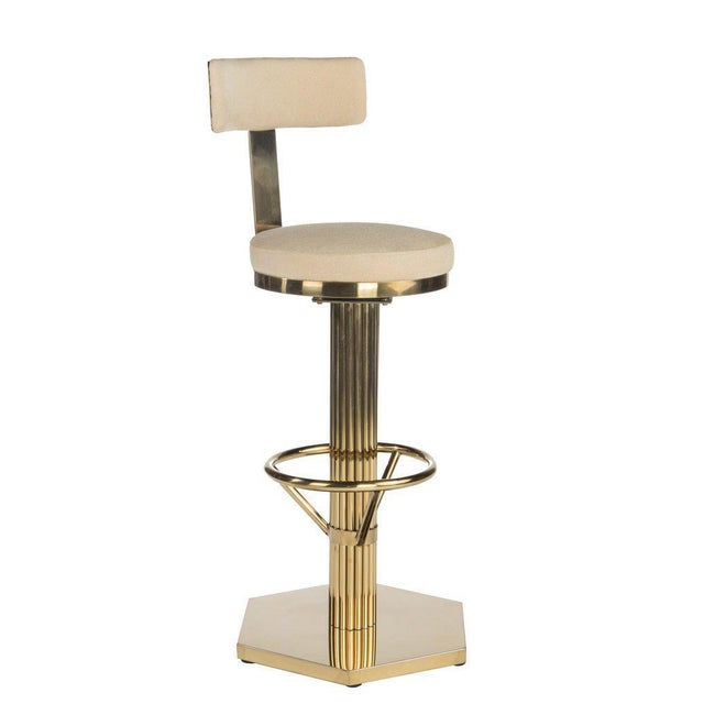 """Materials: Stainless Steel, linen Measurements : 20""""w x 20""""d x 46"""" h, 52 pounds Seat: 33"""" Color : Cream, gold"""