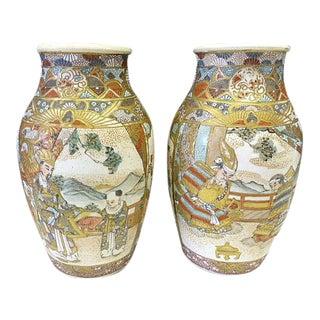 Antique 1890 Japanese Meiji Period Satsuma Vases With Samurai Soldier Men - a Pair For Sale