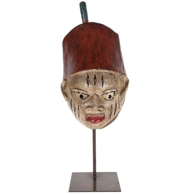Painted Head Crest Mask on Mount, Probably Yoruba, Nigeria, 20th Century For Sale - Image 10 of 10