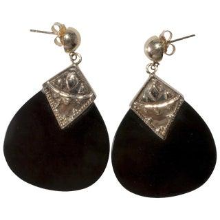 Earrings 14k Gold Black Glass Dangle Pierced Drops Teardrops 1960s 14 Karat Vintage For Sale