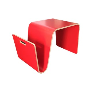 Room & Board Red Ply Side Table & Magazine Holder