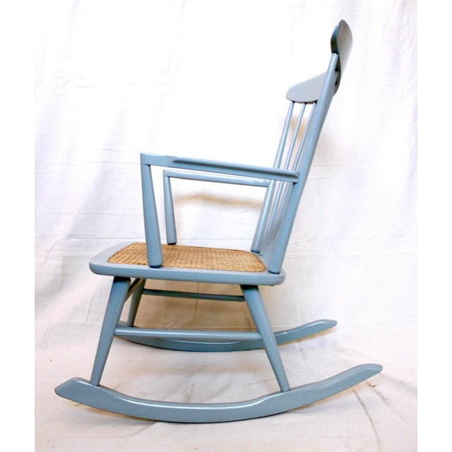 Caning Vintage Mid Century Danish Modern Rocking Chair For Sale - Image 7 of 9