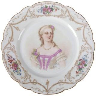Antique French Sevres Hand-Painted & Gilt Porcelain Artist Signed Portrait Plate For Sale