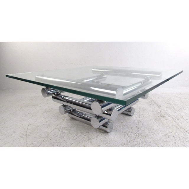 Vintage Modern Chrome Coffee Table in the Style of Paul Mayen For Sale - Image 10 of 10