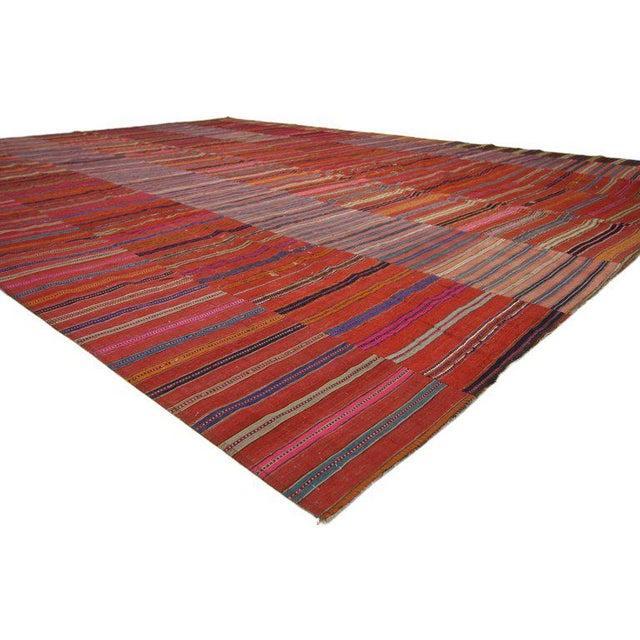 Modern Vintage Turkish Kilim Flat-Weave Striped Rug - 9′7″ × 12′11″ For Sale - Image 3 of 6