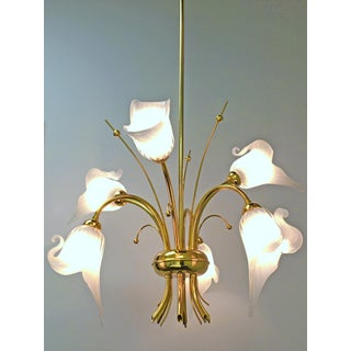Hollywood Regency Murano Glass Gold Plated Brass Calla Lily Chandelier Preview