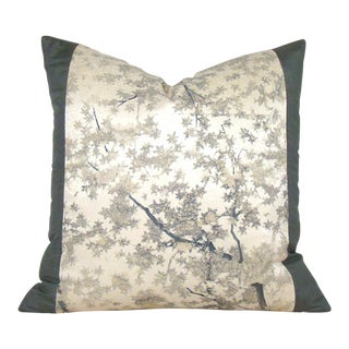 Japanese Silk Kimono Tree Silhouette Pillow Cover For Sale