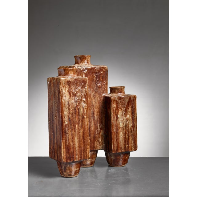 1970s Large (48 CM / 18.9 Inch) Brown Ceramic Vase, 1970 For Sale - Image 5 of 5