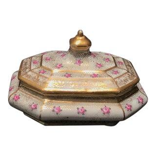 Vintage Meissen Porcelain Trinket Dish With Gold and Roses For Sale