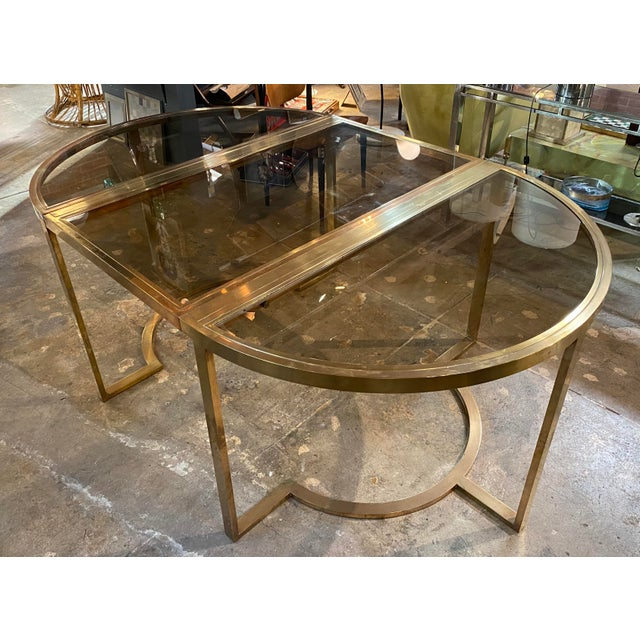 Mid-Century Modern 1970 Romeo Rega Brass Oval or Round Dining Table For Sale - Image 3 of 9
