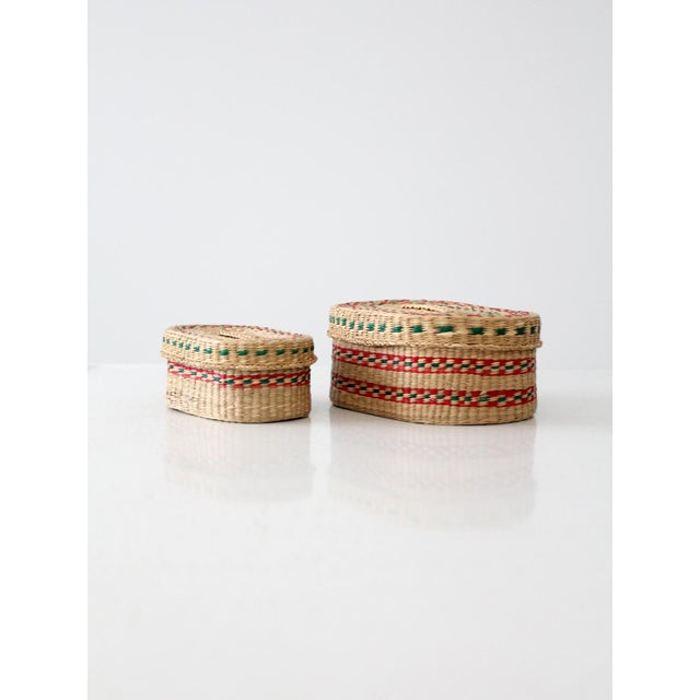 Green Vintage Sweetgrass Baskets - a Pair For Sale - Image 8 of 8