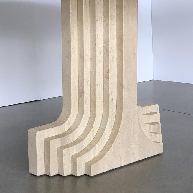 "Carlo Scarpa ""Samo"" Oval Travertine Pedestal Dining Table For Sale - Image 9 of 13"