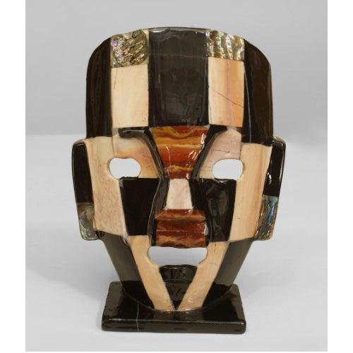 Mid-Century Modern Five Mid-Century Aztec-Inspired Maks of Semi-Precious Stone For Sale - Image 3 of 7