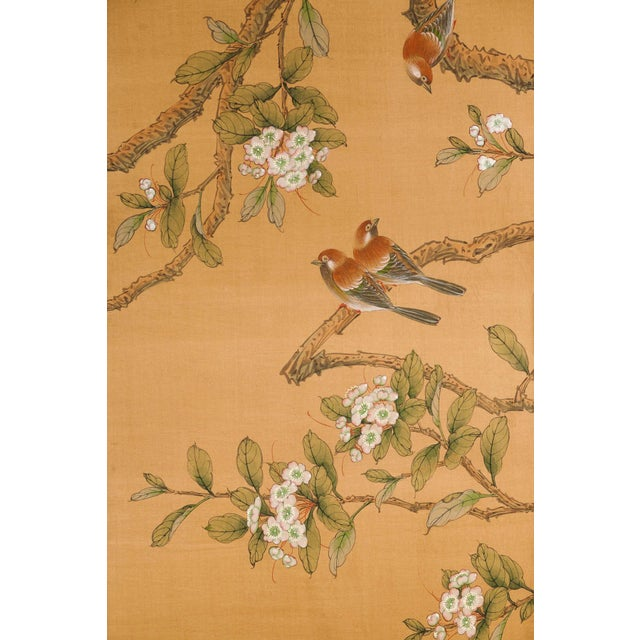 Sung Tze-Chin Large Chinoiserie Hanging Screen Ink on Silk Birds and Flowers Scene 9 Feet Wide by 7 Feet Height For Sale - Image 11 of 13