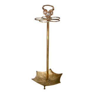 Vintage Hollywood Regency Brass Umbrella Stand For Sale