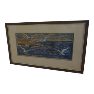 Four Fishermen, Evening Edition : A Wood Block Print by Dirk Breed For Sale