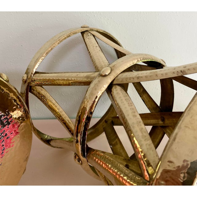 """Exceptional examples of classic circa 1960s brass """"drum"""" tables or plant stands. A pair in polished brass."""