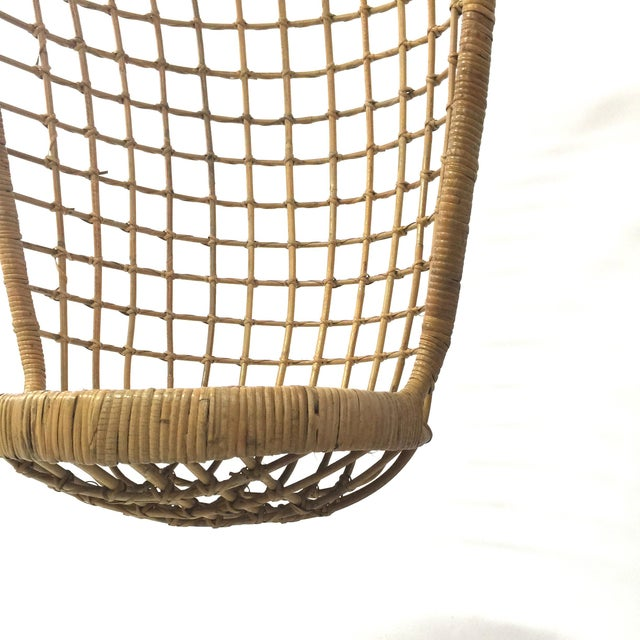 Boho Chic 1960s Rohe Cane Hanging Chair For Sale - Image 3 of 5