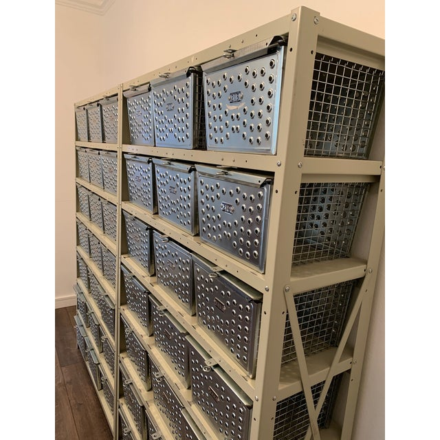 Silver Vintage Industrial Wire Swim and Gym Baskets With Shelving Set of 2 For Sale - Image 8 of 13