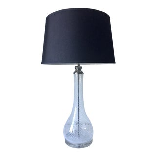 Hand-Blown Glass Lamp-Lucite Base-Fabric Shade
