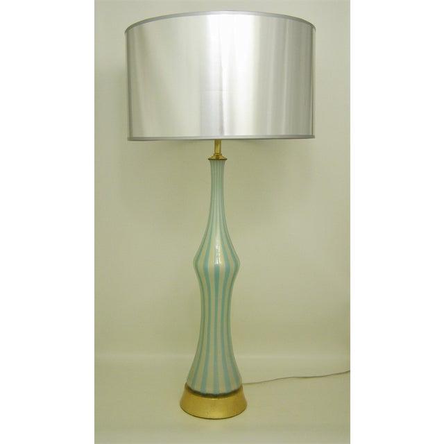 Italian Murano Blue, White and Gold Mid-Century Modern Murano Glass Table Lamp MCM Barbini Venetian Italy - Image 2 of 10