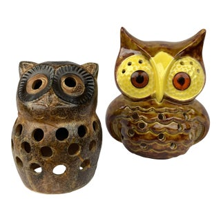 Mid Century Owl Votive Holders - A Pair For Sale