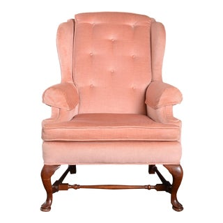 Late 20th Century Pink Velvet Queen Anne Wingback Arm Chair For Sale