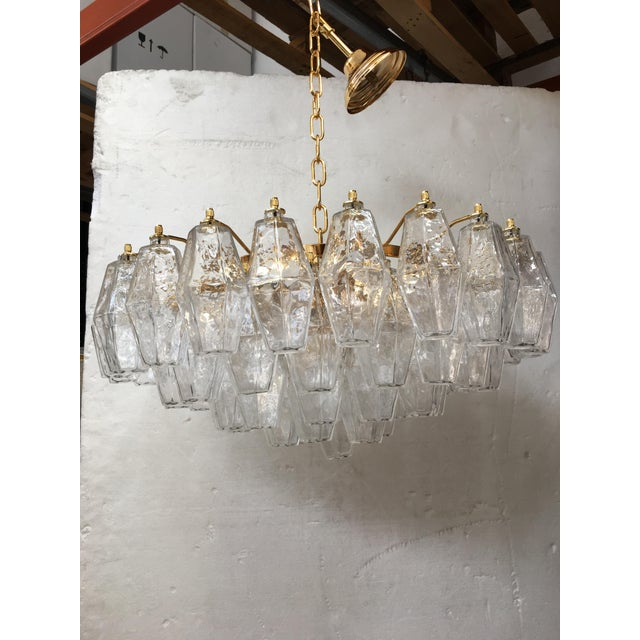 Clear Poliedro Murano Glass with 24K Gold Frame Sputnik Chandelier For Sale - Image 10 of 10