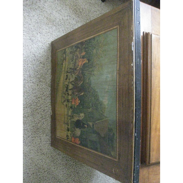 Vintage Card Table With Equestrian Hunt Scene For Sale - Image 10 of 13