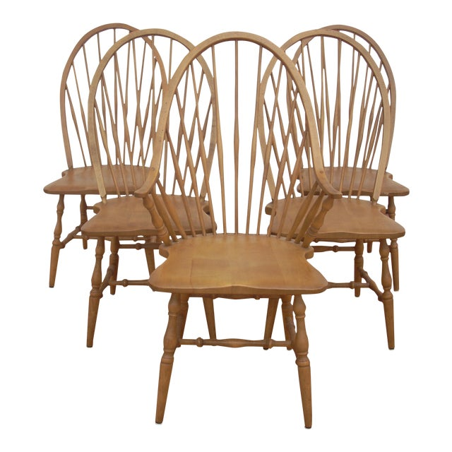 Windsor Maple Dining Chairs - Set of 4 Side Chairs - Image 1 of 5