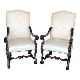Fabric & Wood Dining Chairs - A Pair