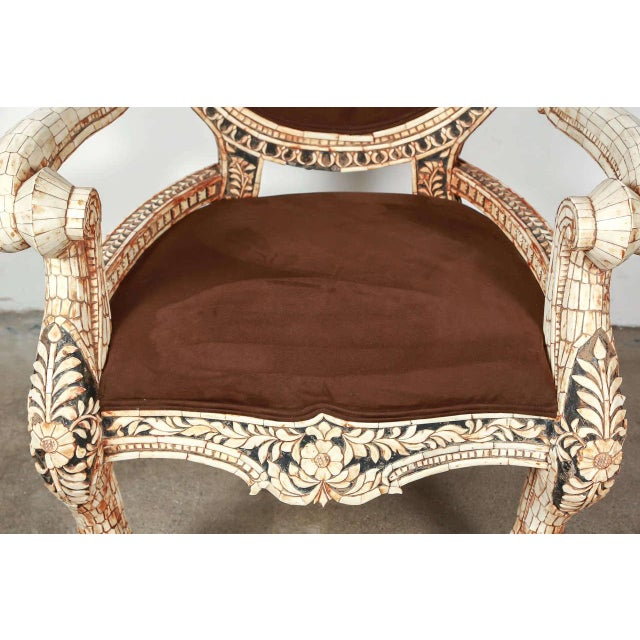 Early 20th Century Early 20th Century Vintage Bone Inlaid Anglo-Indian Armchair For Sale - Image 5 of 8