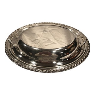 Vintage Silver Serving Oval Covered Serving Dish With Handled Lid For Sale