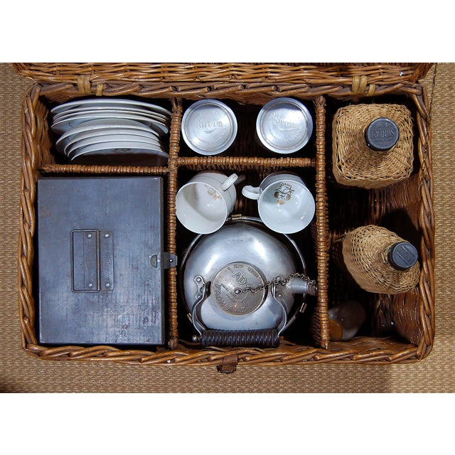 1940s Vintage English ' Sirram ' Wicker Kettle & Tea Service for 4 Picnic Set - 45 Pieces For Sale - Image 5 of 11