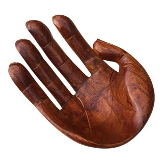 Bohemian Hand Carved Wood Human Hand Sculpture Bowl