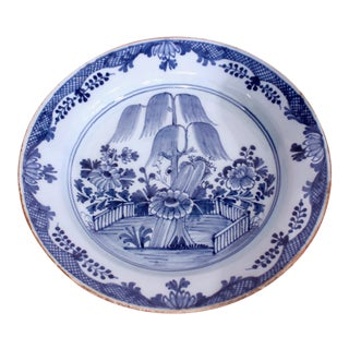 Large English Delft Blue and White Faience Charger With Willow Tree For Sale