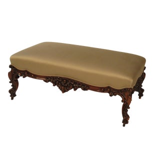 1870s Large English Rococo Rosewood Ottoman