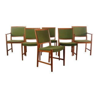 Skaraborgs Mobelindustri Teak and Original Green Knit Fabric Dining Chairs - A Set of 6, Sweden For Sale