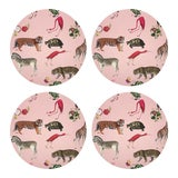 "Image of Exotix Flamingo, 16"" Round Pebble Placemats, Set of 4 For Sale"