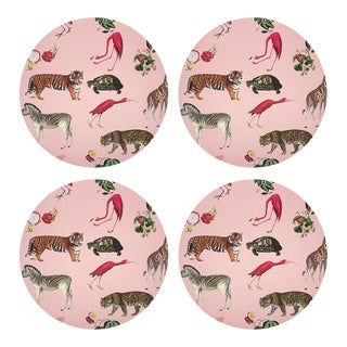 "Exotix Flamingo, 16"" Round Pebble Placemats, Set of 4 For Sale"