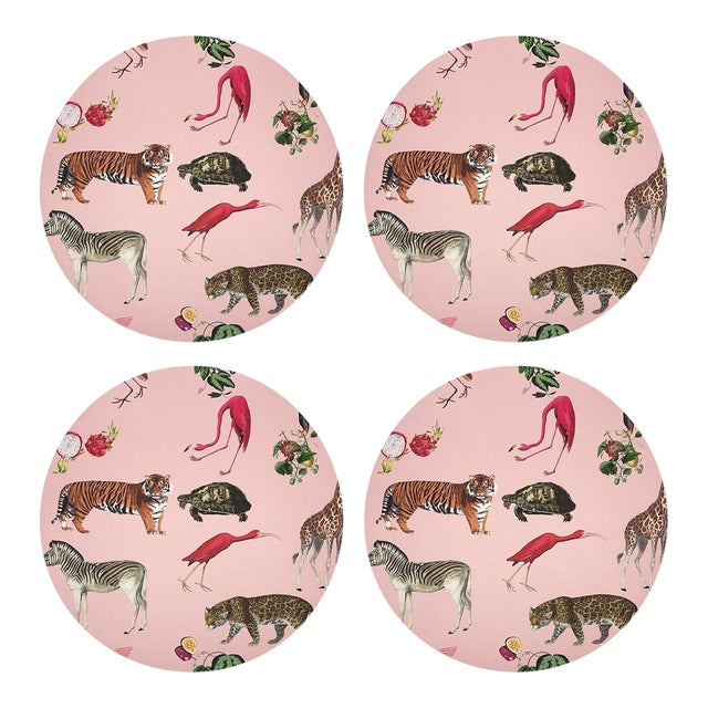 "Exotix Flamingo, 16"" Round Pebble Placemats, Set of 4 For Sale"